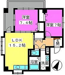 福岡県大野城市川久保2丁目の賃貸マンションの間取り