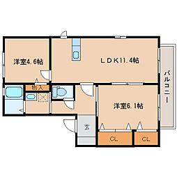 静岡県静岡市清水区村松原の賃貸アパートの間取り