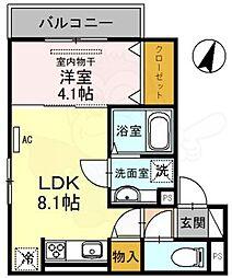 (仮称)D-room友田町 1階1LDKの間取り