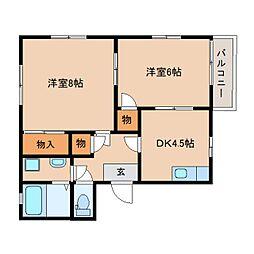 静岡県静岡市清水区天神の賃貸アパートの間取り