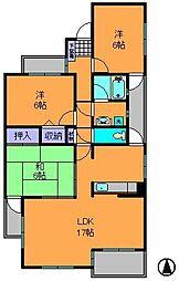 奈良県奈良市富雄川西1丁目の賃貸マンションの間取り