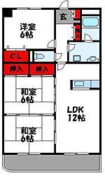 ブリージング三苫 1階3LDKの間取り