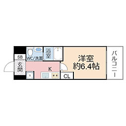 HS梅田EAST 6階1Kの間取り