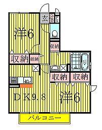 千葉県柏市小青田3丁目の賃貸アパートの間取り