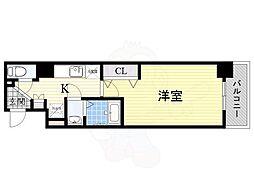 Luxe東三国α 3階1Kの間取り