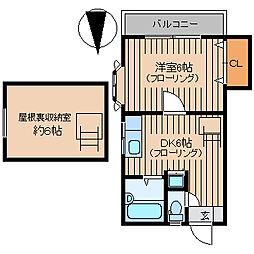 東武東上線 北池袋駅 徒歩5分の賃貸アパート 2階1DKの間取り
