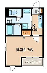 東京メトロ有楽町線 月島駅 徒歩8分の賃貸マンション 5階1Kの間取り