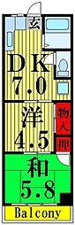 東京都足立区竹の塚1丁目の賃貸マンションの間取り