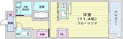 仙台市地下鉄東西線 薬師堂駅 徒歩8分の賃貸マンション 8階ワンルームの間取り