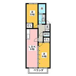 リバーサイド金岡 A棟[2階]の間取り
