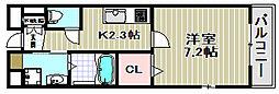 大阪府堺市西区鳳北町3丁の賃貸マンションの間取り