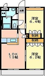 兵庫県高砂市荒井町小松原4丁目の賃貸アパートの間取り