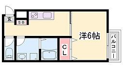 パロス須磨浦通 3階1Kの間取り