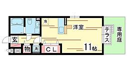 兵庫県神戸市北区山田町下谷上の賃貸アパートの間取り