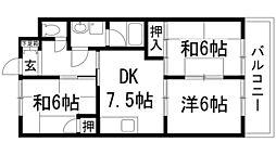 ロイヤルハイツY[1階]の間取り