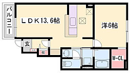JR赤穂線 坂越駅 徒歩5分の賃貸アパート 1階1LDKの間取り
