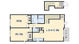 南海線 樽井駅 徒歩20分の賃貸アパート 2階2LDKの間取り