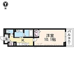 京都市営烏丸線 十条駅 徒歩6分の賃貸マンション 3階1Kの間取り