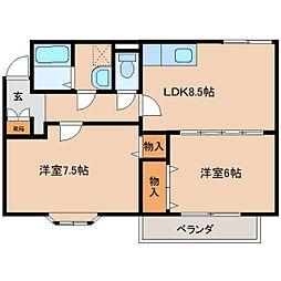 奈良県奈良市法華寺町の賃貸アパートの間取り