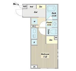ノーウェジアン・ウッド 2階ワンルームの間取り