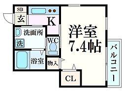 あんのんハウス 1階1Kの間取り