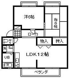 ハイツサングレイスA棟 1階2LDKの間取り