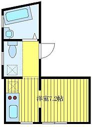 都営三田線 板橋本町駅 徒歩10分の賃貸マンション 地下1階ワンルームの間取り