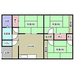 福岡県北九州市小倉北区竪林町の賃貸アパートの間取り