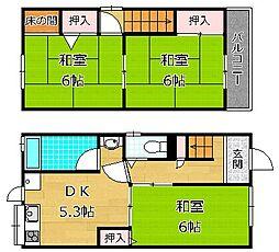 京阪本線 枚方市駅 バス13分 田ノ口中央下車 徒歩3分の賃貸一戸建て 3DKの間取り