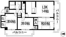ロイヤルシャトー門戸[4階]の間取り