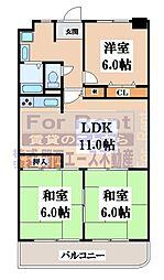 シャトー第3八戸ノ里[13階]の間取り