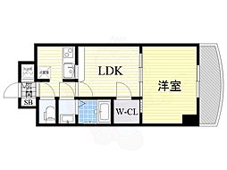 Osaka Metro御堂筋線 新大阪駅 徒歩5分の賃貸マンション 15階1LDKの間取り