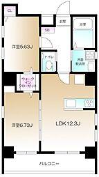 仮)南麻布2丁目プロジェクト 7階1LDKの間取り