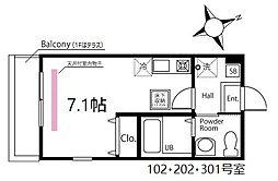 ハーミットクラブハウス鶴見生麦III(仮) 2階ワンルームの間取り