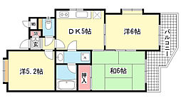 兵庫県神戸市灘区稗原町4丁目の賃貸マンションの間取り