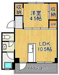 ビレッジハウス門司白野江1号棟 4階1LDKの間取り