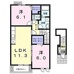 JR小海線 東小諸駅 徒歩14分の賃貸アパート 2階2LDKの間取り