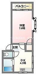 京阪本線 大和田駅 徒歩10分の賃貸マンション 4階1DKの間取り
