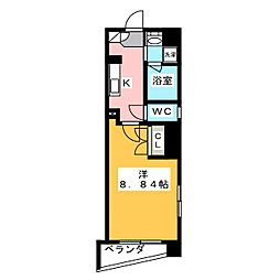 アールズタワー東山公園 4階1Kの間取り