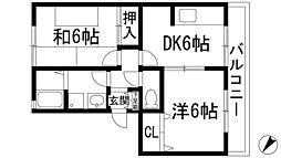 兵庫県宝塚市高司2丁目の賃貸マンションの間取り