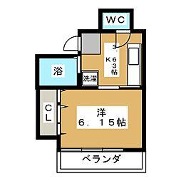 第5福正ビル 5階1Kの間取り