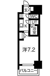 名古屋市営東山線 新栄町駅 徒歩9分の賃貸マンション 3階ワンルームの間取り