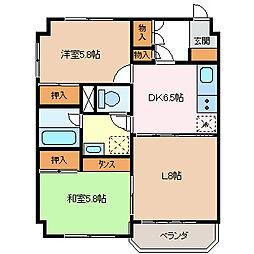 長野県松本市蟻ケ崎5丁目の賃貸マンションの間取り