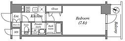 エスリード中之島クロスゲート 7階1Kの間取り