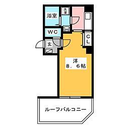 金太郎ヒルズ243松が谷 7階1Kの間取り