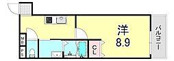 フジパレス江坂VI番館 3階1Kの間取り
