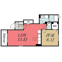 JR総武本線 八街駅 徒歩12分の賃貸アパート 1階1LDKの間取り
