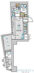 ル・リオン五反田 5階ワンルームの間取り
