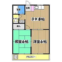 東京都昭島市宮沢町の賃貸マンションの間取り