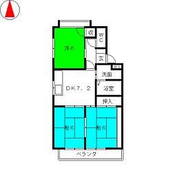 高山マンションB棟[4階]の間取り